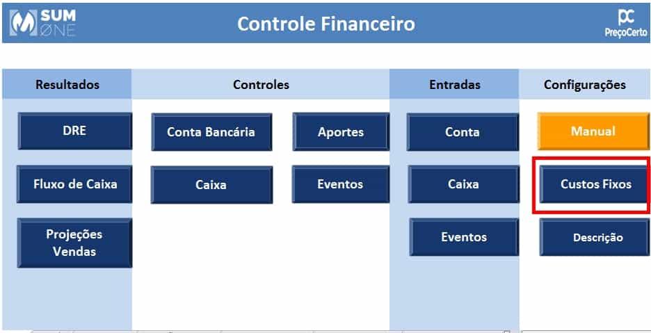 configuração da planilha de controle financeiro